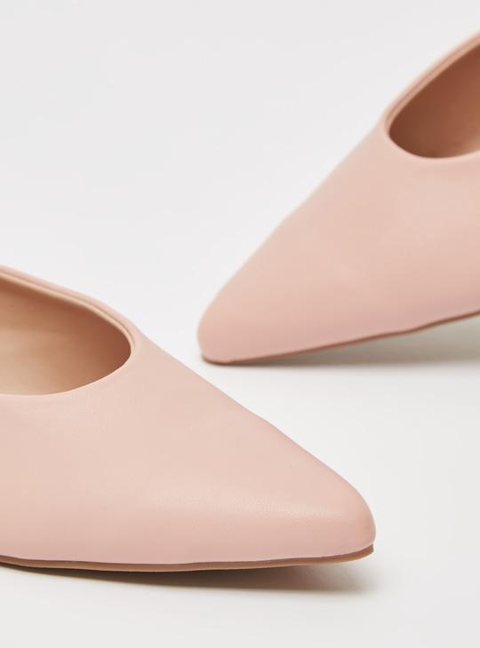 Solid Pointed Toe Slip-On Ballerinas