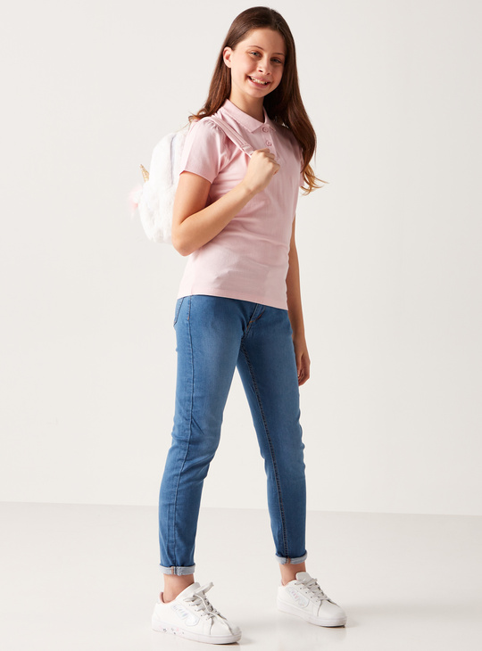 Full Length Solid Jeans with Button Closure and Pocket Detail