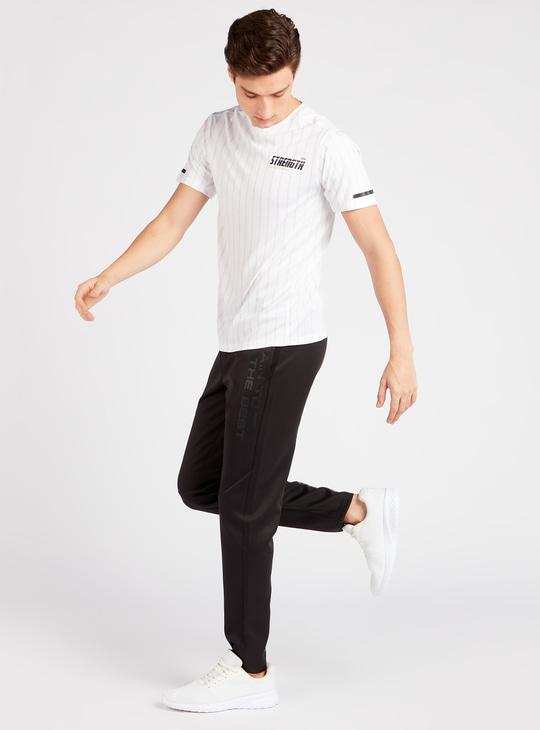 Full Length Text Print Track Pants with Drawstring Closure