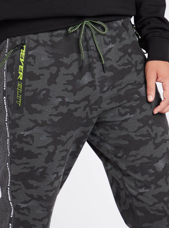 Camo Print Full Length Jog Pants with Elasticated Drawstring Waist