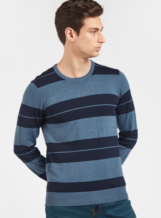 Striped Round Neck Sweater with Long Sleeves