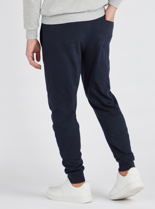 Slim Fit Solid Anti-Pilling Jog Pants with Pockets and Drawstring
