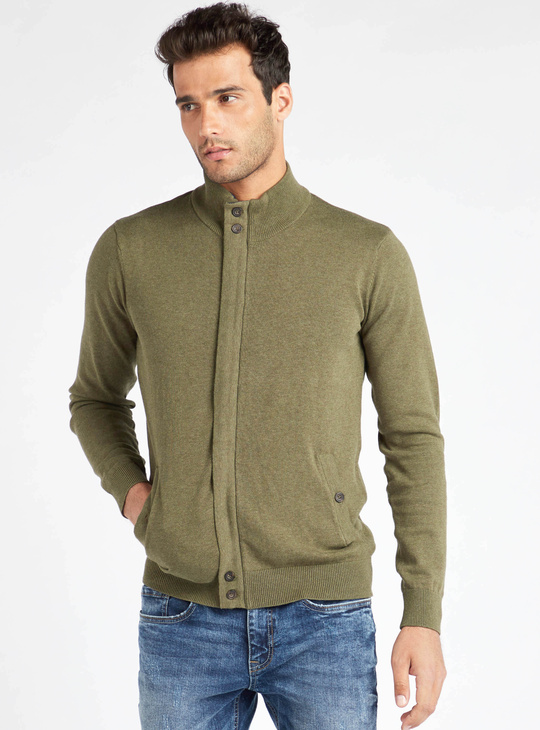 Solid Funnel Neck Sweater with Long Sleeves and Elbow Patch
