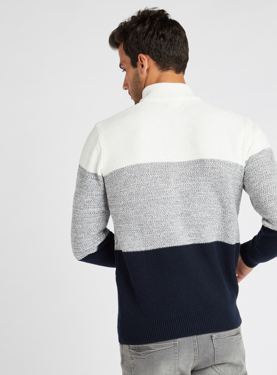 Striped Panel Textured Sweater with Long Sleeves and Half-Zip Closure