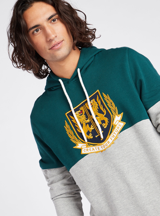 Embroidered Hooded Neck Sweatshirt with Long Sleeves
