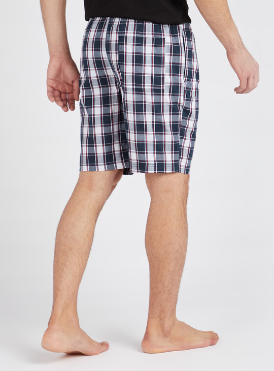 Checked Shorts with Elasticated Drawstring Waistband