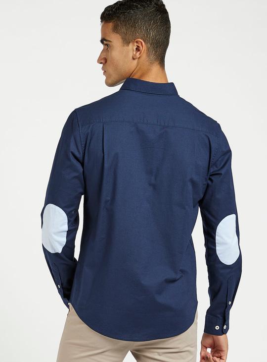 قميص أكسفورد بأكمام طويلة ووصلة أزرار كاملة