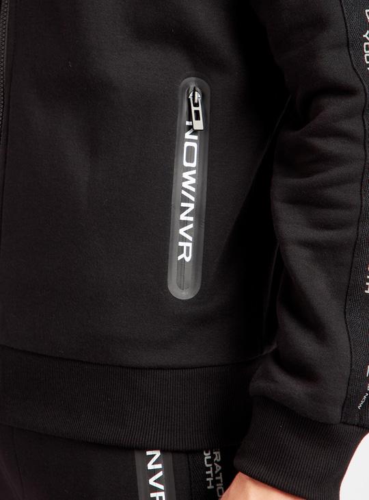 Printed Long Sleeves Hoodie with Tape Detail and Zip Closure