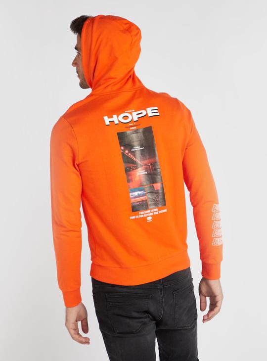 Graphic Print Sweatshirt with Long Sleeves and Hood