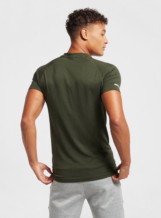 Solid Compression T-shirt with Crew Neck and Short Sleeves