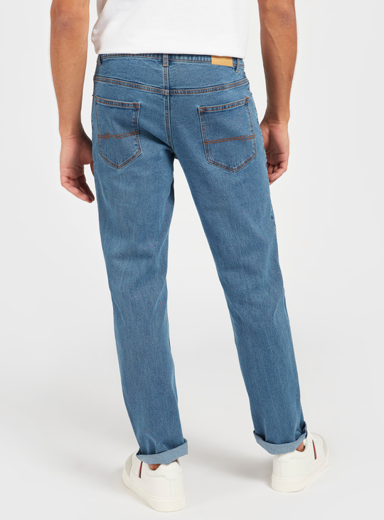 Solid Mid-Rise Denim Jeans with Pockets and Zip Closure