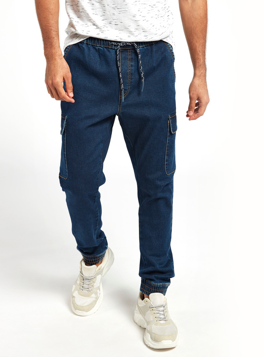 Slim Fit Denim Cargo Pants with Pockets and Drawstring Closure