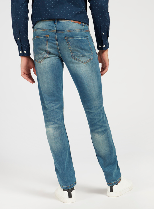 Slim-Fit Solid Jeans with Pockets