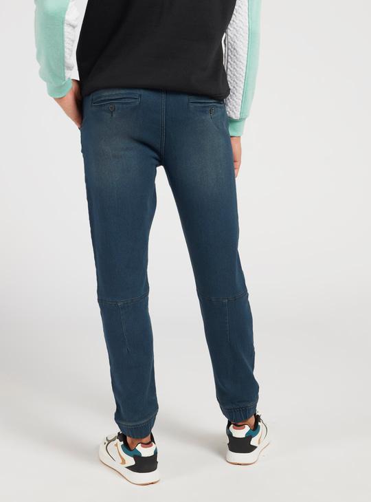 Solid Mid-Rise Denim Jog Pants with Pockets and Drawstring Closure
