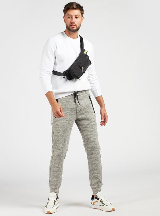 Injected Print Mid-Rise Jog Pants with Pockets and Drawstring Closure