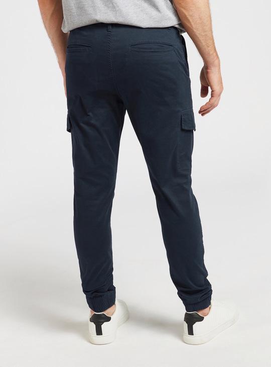 Slim Fit Solid Combat Jog Pants with Pockets and Zip Closure