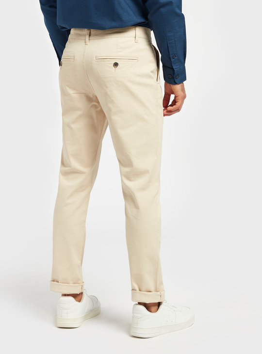 Slim Fit Solid Mid-Rise Chinos