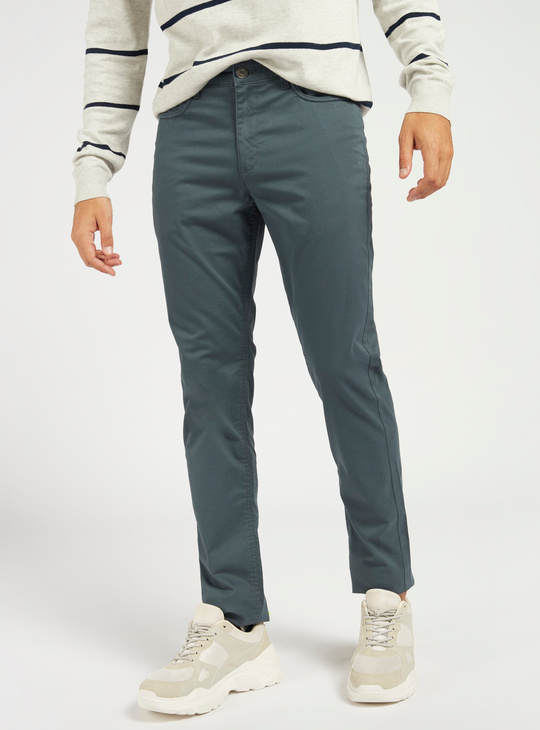 Solid Slim Fit Mid-Rise Pants with Pockets and Belt Loops