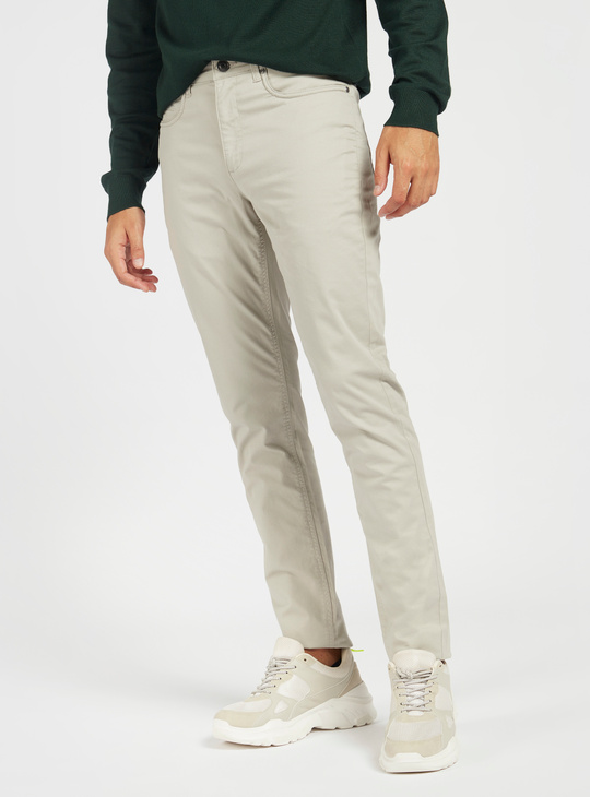 Slim Fit Mid-Rise Solid Pants with Pockets and Belt Loops