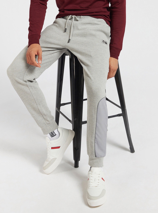 Textured Slim Fit Jog Pants with Side Panel Detail and Drawstring Closure