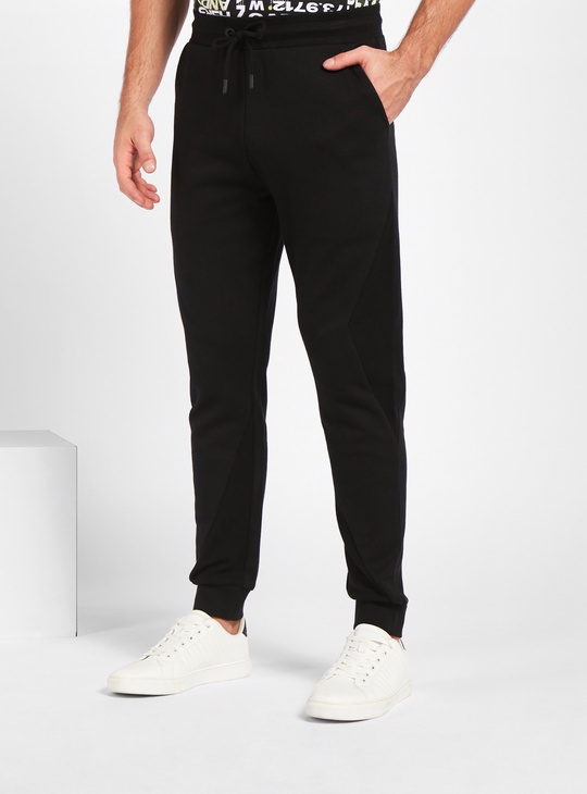 Solid Slim-Fit Joggers with Drawstring Closure