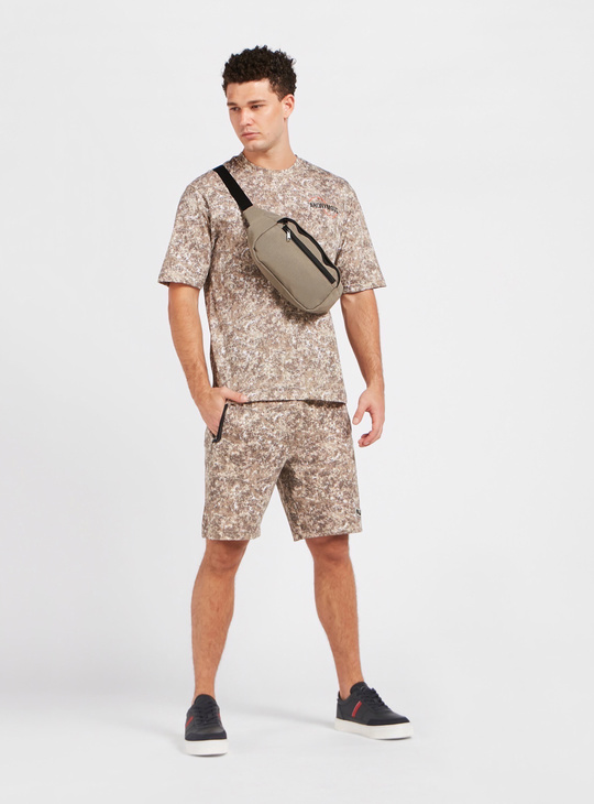 All-Over Print Shorts with Pockets and Drawstring Closure