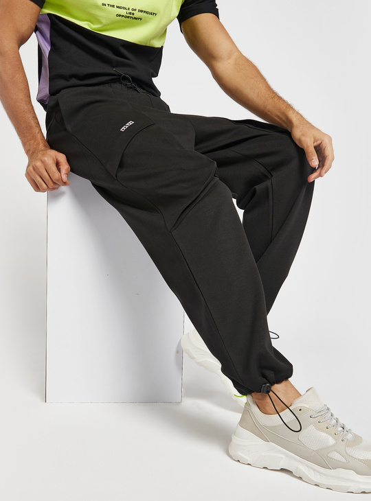 Solid Utility Joggers with Pockets
