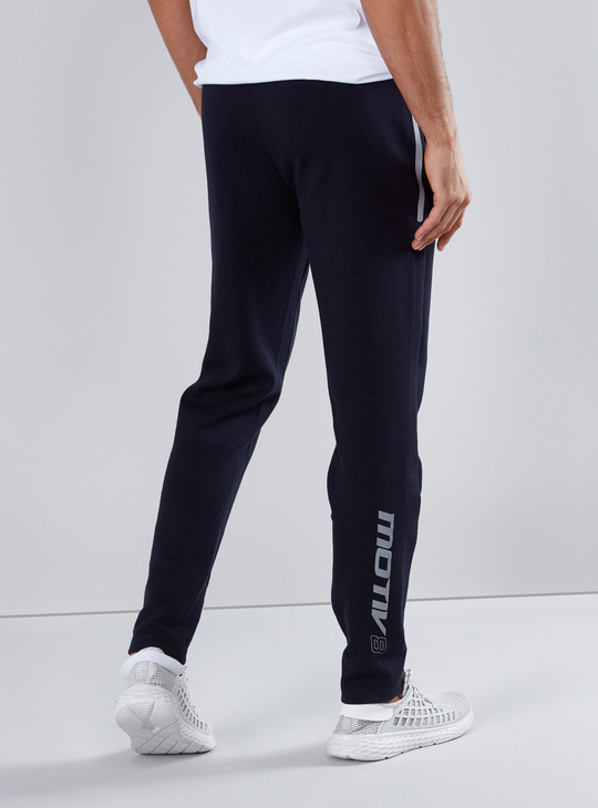 Printed Full Length Track Pants with Drawstring and Pocket Detail