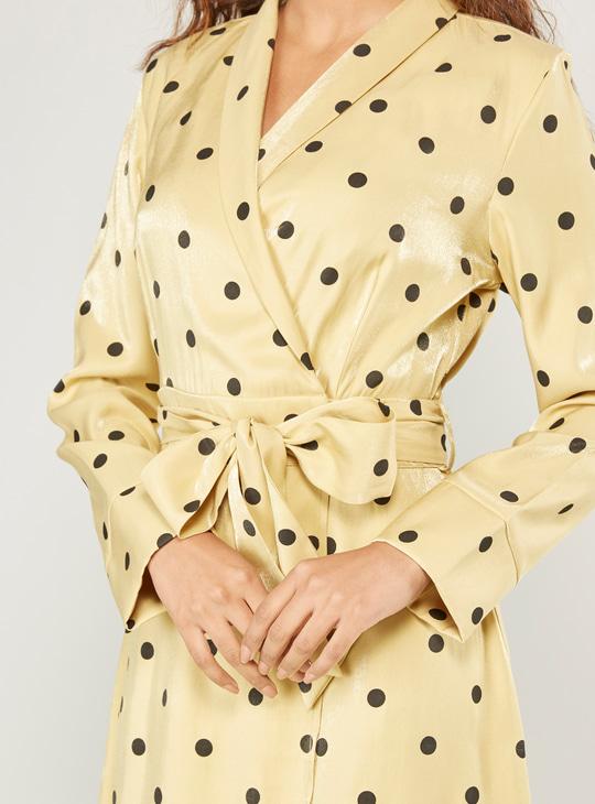 Polka Dot Print Shirt Midi Dress with Long Sleeves and Tie Ups