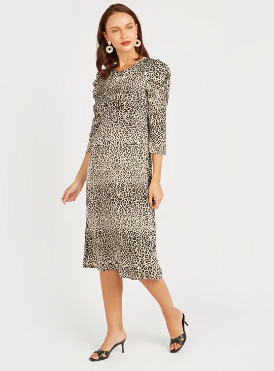 Animal Print A-line Midi Dress with 3/4 Sleeves