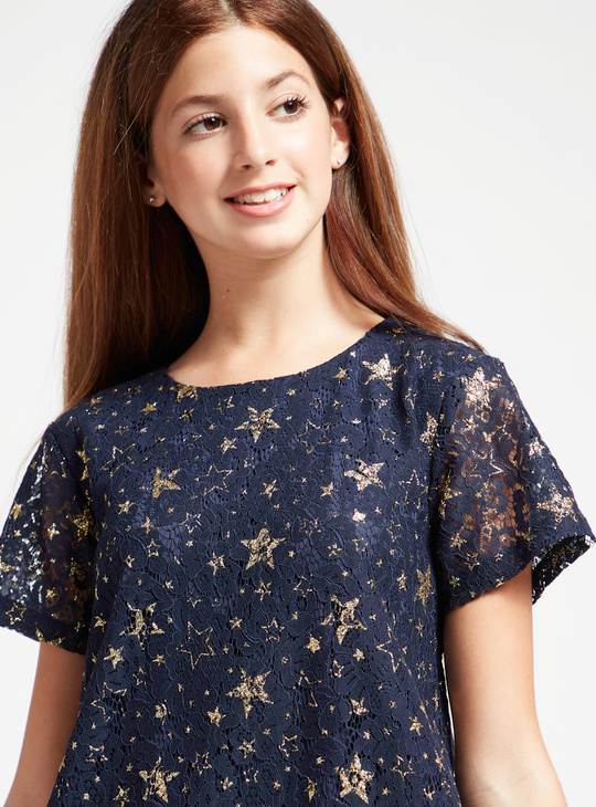 Lace Detail Star Print A-Line Dress with Round Neck and Short Sleeves