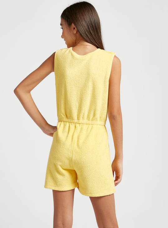 Textured Embroidered Sleeveless Playsuit with Snap Closure