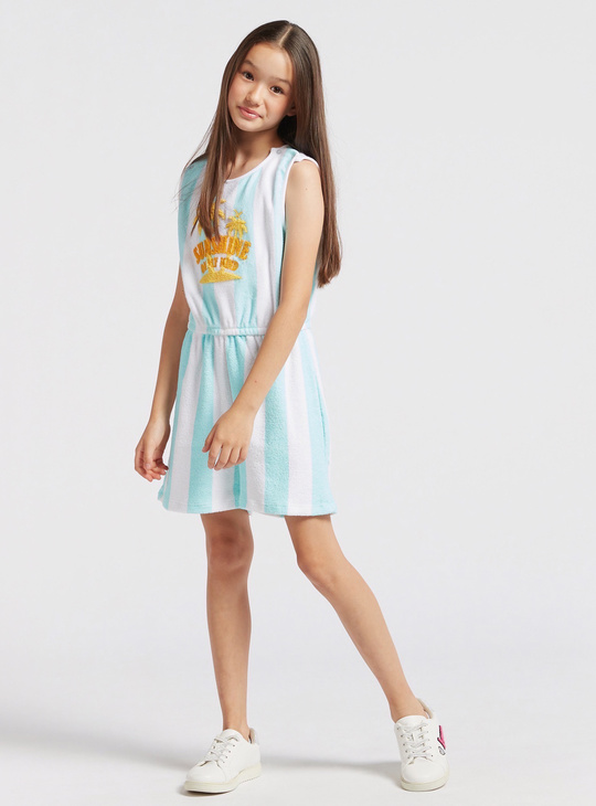 Striped Sleeveless Playsuit with Round Neck and Embroidered Detail