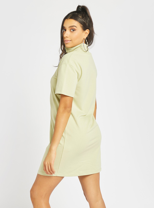 Solid Mini T-shirt Dress with Short Sleeves and Zipper Detail
