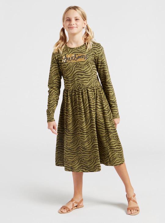 فستان ميدي بأكمام طويلة وطبعات حيوانات