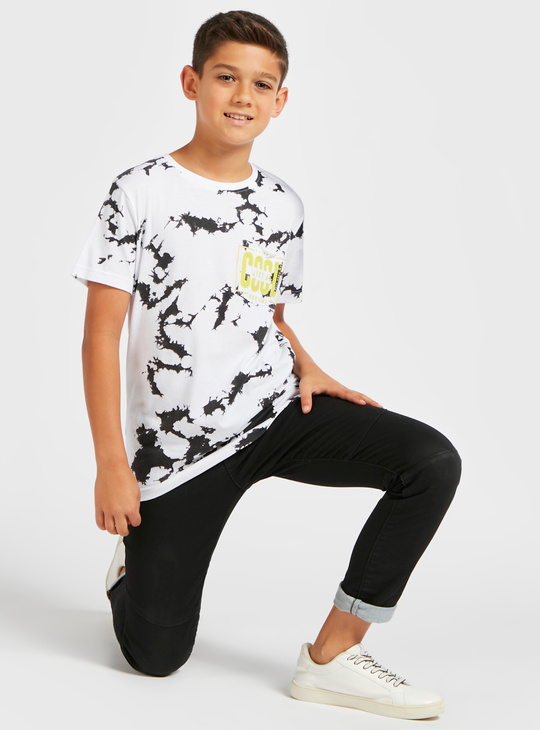 Marble Print Round Neck T-shirt with Short Sleeves