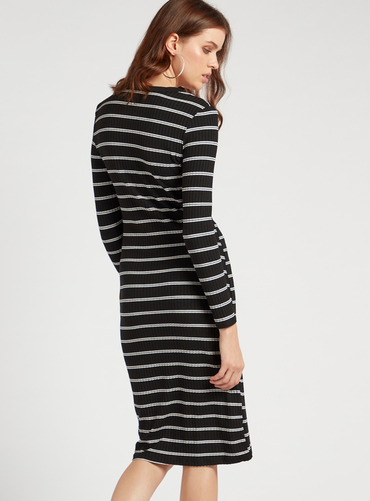 Striped V-neck Shift Dress with Long Sleeves