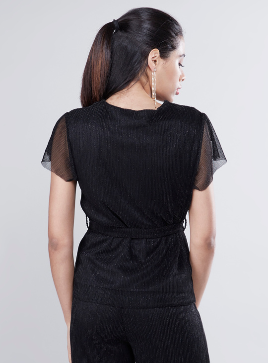 Textured Top with V-neck and Frill Short Sleeves