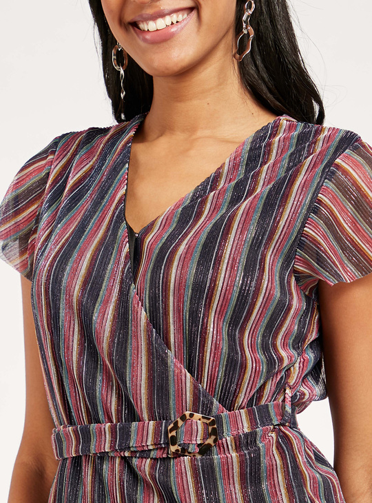 Striped V-Neck Wrap Top with Short Sleeves and Belt