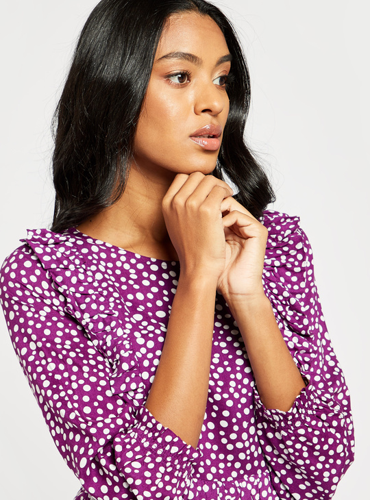 Polka Dots Print A-line Midi Dress with 3/4 Sleeves