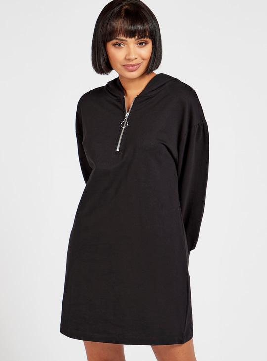 Solid Mini Sweatshirt Dress with Long Sleeves and Hood
