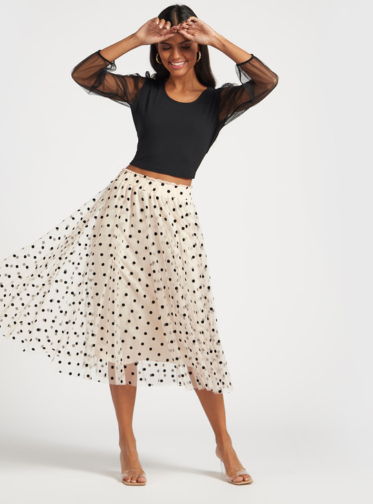 Ribbed Crop Top with Scoop Neck and Mesh Sleeves