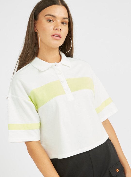 Colourblock Detail Boxy Polo Top with Short Sleeves