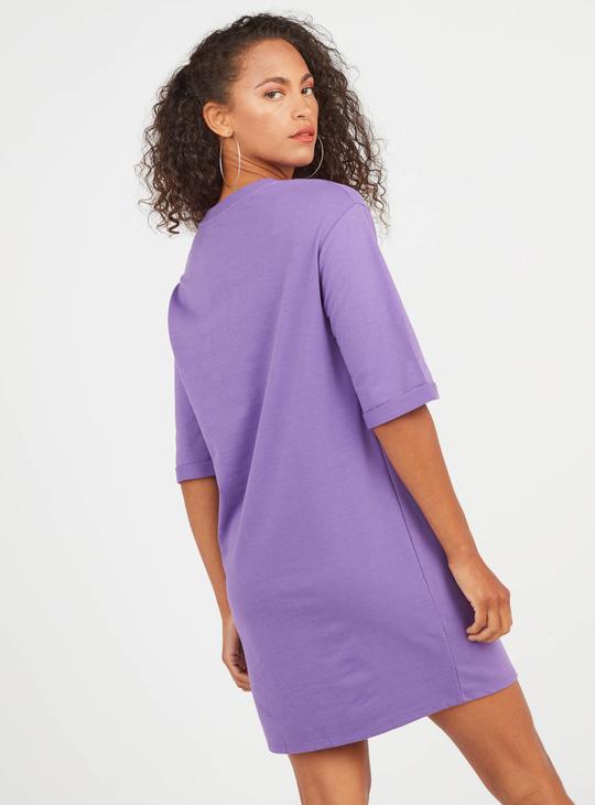 Graphic Print Mini Shift T-shirt Dress with Short Sleeves