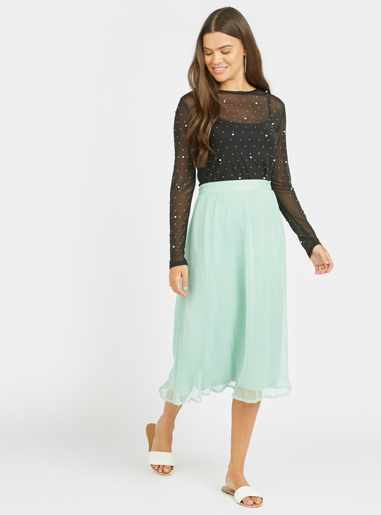 Scatter Dots Mesh Top with Pearl Detail and Long Sleeves