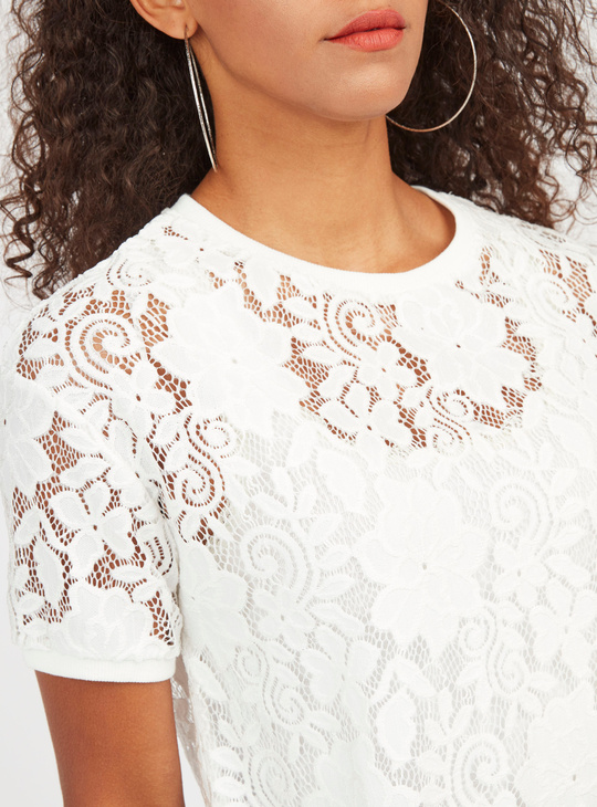 Lace Detail Crop Top with Short Sleeves
