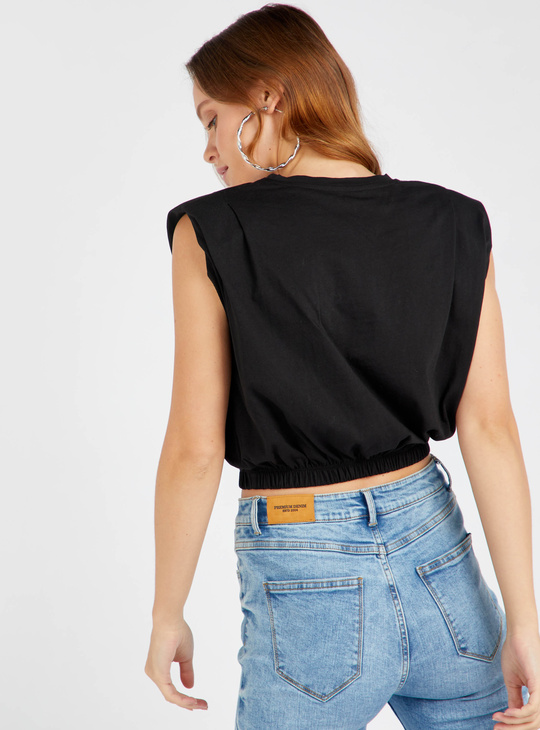 Solid Sleeveless Crop Top with Elasticated Hem