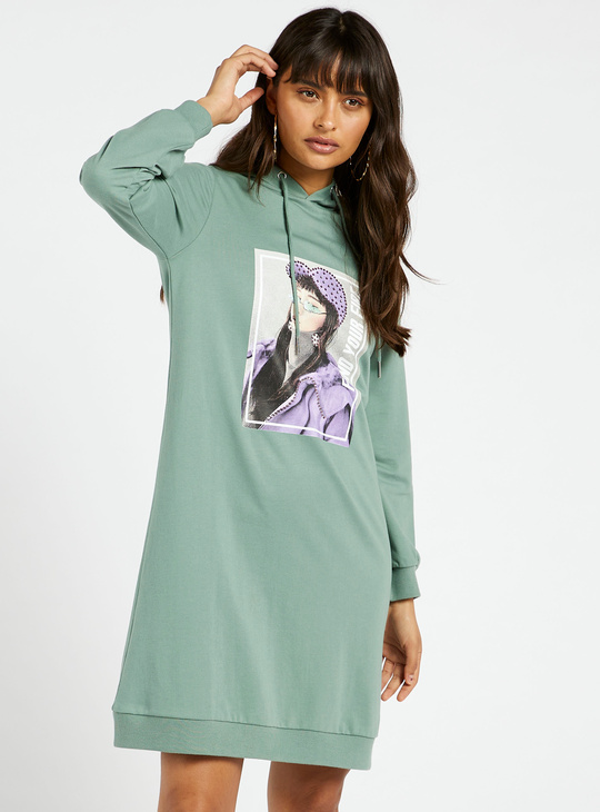 Graphic Print Knee Length Sweat Dress with Long Sleeves and Hood
