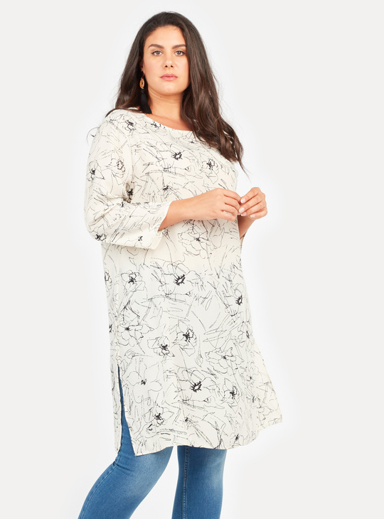 Printed Tunic with Round Neck and 3/4 Sleeves