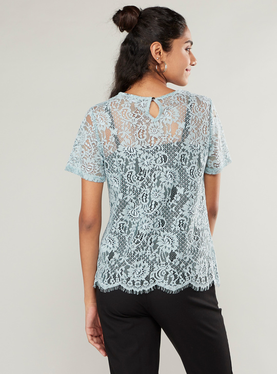 Lace Detail Top with Short Sleeves